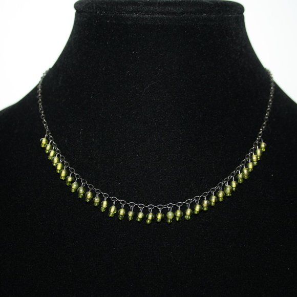 """Beautiful gunmetal and green beaded necklace 16"""""""